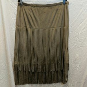 Chico's Fringe Faux Suede Skirt Like New Sz 12/14